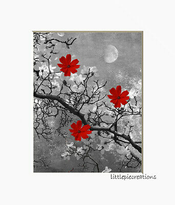 $19.99 • Buy Black White Red Wall Art Flowers On Branch Moon Photo Matted Artwork Picture
