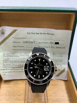 $ CDN10782.98 • Buy Rolex Submariner 16613 Black Dial 18K Yellow Gold Stainless Box Service Paper
