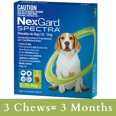 AU110 • Buy NexGard SPECTRA For Dogs 7.6 - 15kg (GREEN)