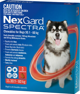 AU129.95 • Buy NexGard SPECTRA For Dogs 30.1 - 60kg (RED)