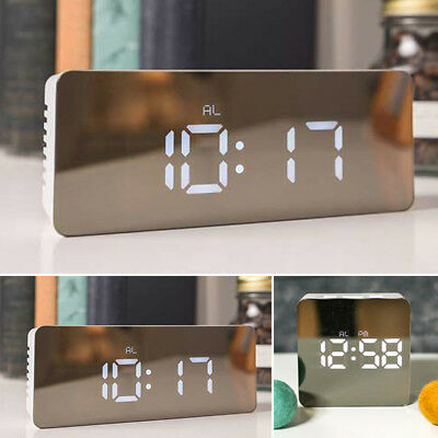 AU13.99 • Buy Mirror LED Alarm Clock Night Light Thermometer Digital Clock With USB Charging