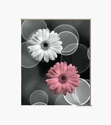 $18.99 • Buy Black White Pink Wall Art Pictures, Daisy Flowers Home Decor Artwork