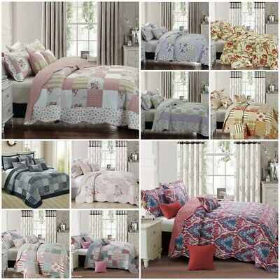 £24.97 • Buy Patchwork Quilt Bedspread 3 Piece Bed Throw Double King & Super King Size