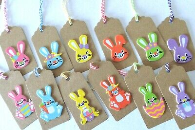 EASTER BUNNY GIFT TAGS  Pack 10 Cute 3D Handmade Easter Kraft Card Party Labels • 2.95£