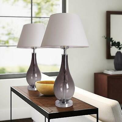 Set Of 2 Gray Ombre Glass 28 Inch Bedside Lamps For Bedroom • 160.75£