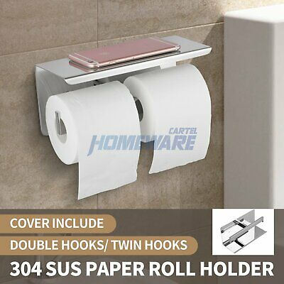 AU36.50 • Buy Wall Mounted Double Toilet Paper Roll Holder Hook Cover Storage Stainless Steel