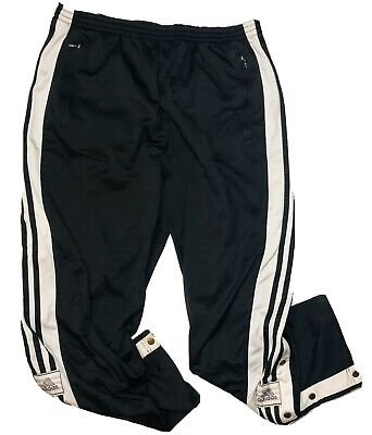 $ CDN55 • Buy Vintage Adidas Mens Black White 3 Stripe Snap Button Tear Away Track Pants L