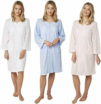Ladies Womens Zip Up Front Tassel Waffle Robe Dressing Gown ~ White (MA22794) • 19.99£