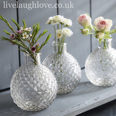 £10.95 • Buy Set Of 3 Faceted Diamond Clear Glass Bud Vases