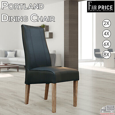 AU1829 • Buy 2, 4, 6, 8 New Portland Timber Legs Dining Chair Black Leather Air Kitchen Cafe