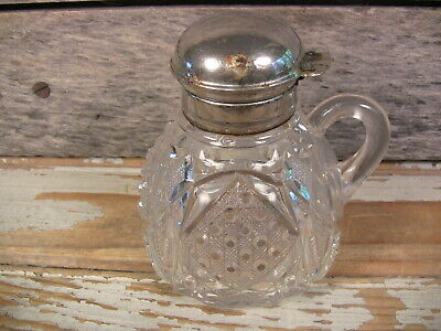 $38 • Buy Antique Pressed Pattern Glass Syrup Pitcher Creamer Silverplate Lid Pontil Mark