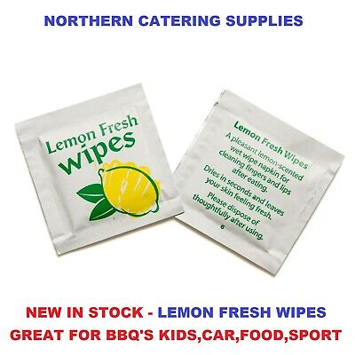 50 X SMALL Lemon Scented Fresh Wet Hand Wipes Towels Napkin Individually Wrapped • 2.73£