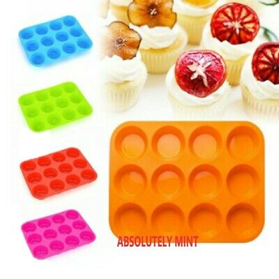 12 Silicone Large Muffin Yorkshire Pudding Mould Cupcake Baking Tray Bakeware • 3.99£
