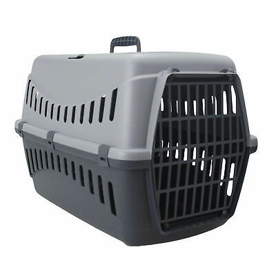Grey Portable Pet Carrier Cat Puppy Travel Cage Dog Carry Basket Transporter Box • 14.99£