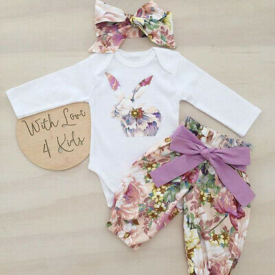UK Newborn Baby Girl Easter Bunny Clothes Romper Tops Bodysut Pants Outfits Set • 7.99£