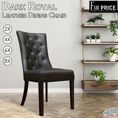 AU599 • Buy 2, 4, 6, 8 Dark Royal Leather Air Brown, Black Dining Chairs, Solid Timber Legs