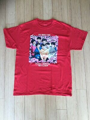$20 • Buy BTS T Shirt Red Size Large World Tour Chicago  Soldier Field 5/11,12/19