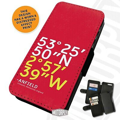 Printed Faux Leather Flip Phone Case For IPhone - Stadium Coordinates Anfield • 9.75£