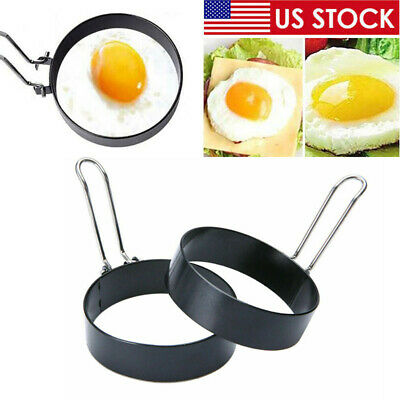 $7.28 • Buy Metal Egg Frying Ring Perfect Circle Round Fried/Poach Mold+Handle Non-Stick US