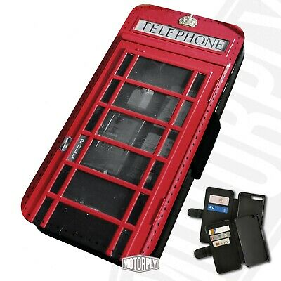 Printed Faux Leather Flip Phone Case For IPhone - Classic Red Telephone Box • 9.75£