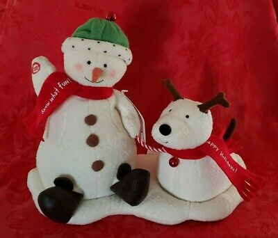 $21 • Buy Hallmark Jingle Pals Duo Animated Singing Snowman And Barking Dog New With Tags