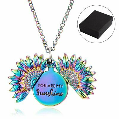 You Are My Sunshine Sunflower Locket Memorial Engraved Pendant Necklace Hot Gift • 3.49£