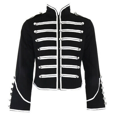 £29.53 • Buy Banned Silver Black Steampunk Emo Parade Band Coat Gothic Drummer Style Jacket