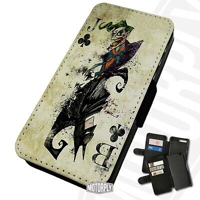 Printed Faux Leather Flip Phone Case For IPhone - Joker Batman Card - Comic • 9.75£