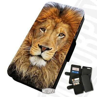 Printed Faux Leather Flip Phone Case For IPhone - Lion Face - Cute Animal • 9.75£