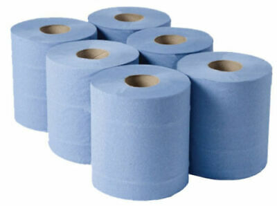 6 X BLUE ROLL 2Ply Centrefeed Rolls Paper Hand Towels Absorbent Made In UK • 8.85£
