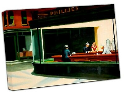 £11.49 • Buy Edward Hopper Nighthawks Picture Photo Print On Framed Canvas Wall Art Home