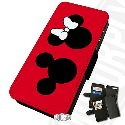 Printed Faux Leather Flip Phone Case For IPhone - Mickey Minnie Silhouette Red • 9.75£