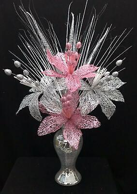 Beautiful Silver Mirror Bling 26cm Vase With Pink & Silver Flowers, Home Decor • 24.99£