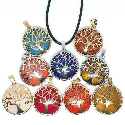 Healing Quartz Tree Of Life Gemstone Round Pendant Chain Necklace Chakra Anxiety • 3.79£