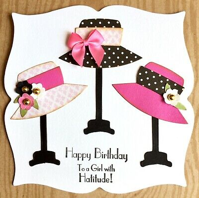 Handmade By Susie Luxury Beautiful Ladies Hats Birthday Girl Quote Card Topper • 1.99£
