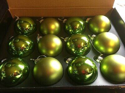 Set Of 12 Premier Green Glass Baubles. Christmas Tree Decorations 6cm - 283 • 11.99£