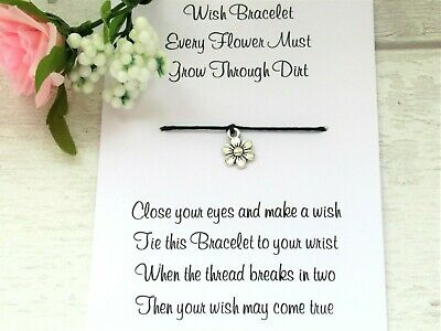Every Flower Must Grow Wish Bracelet Anxiety Gift Card Daisy Charm Positive  • 2.95£