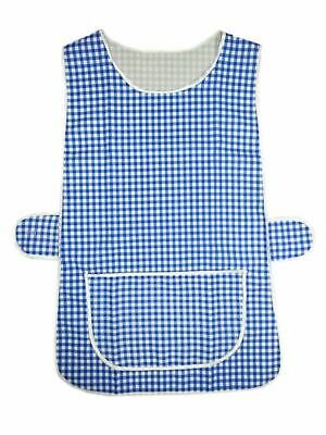 Top Quality Ladies Home / Work Tabard (Tabbard) Apron With  Pocket, GINGHAM BLUE • 4.99£