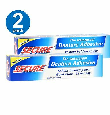 $14.50 • Buy Secure Waterproof Denture Adhesive 12 Hour Holding Power Zinc Free 1.4 Oz 2 Pack