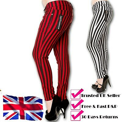 Red Or White Stripes Skinny Punk Rockabilly Stretch Trousers Jeans BANNED Retro • 25.99£