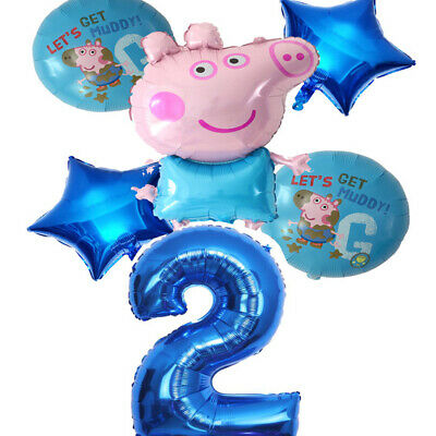 Large 31  Peppa Pig George Coloured Latex Balloon Party Birthday Air Helium Fill • 5.99£