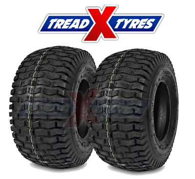 2x 4Ply Lawn Mower 15x6.00-6 Grass Tyres Two Garden Tractor Golf Buggy Turf X2 • 32.49£