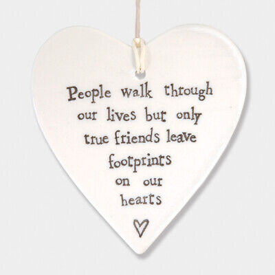 East Of India White Ceramic People Walk Through Our Lives Friends Heart 9x9cm • 5.99£