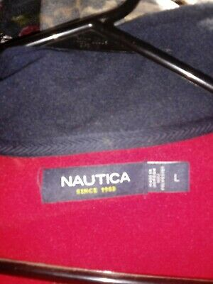 $20.07 • Buy Nautica Vest Full Zip Stand Collar Pockets Mens Navy Blue/red Size L NEW