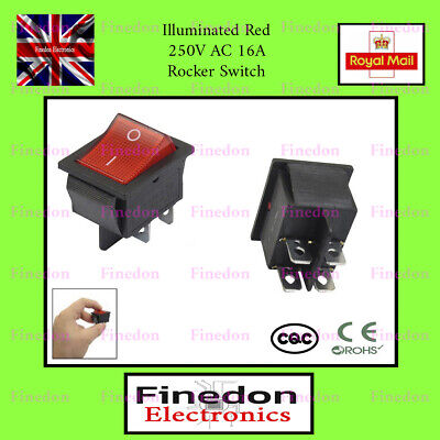 Red 4 Pin DPST ON/OFF Illuminated Rocker Switch AC 250V 16A UK Seller • 2.98£