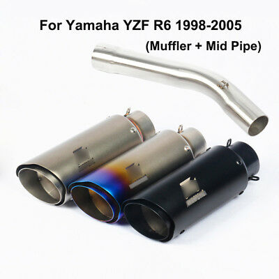 $103.73 • Buy Slip For Yamaha YZF R6 1998-2005 Motorcycle Exhaust Muffler Tube Mid Pipe 250mm