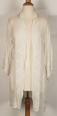 $119.99 • Buy Johnny Was Embroidered Open Kimono Top Jacket White Size M