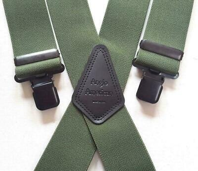 Mens Braces Heavy Duty 2  Or 1.5 Olive Camo Fishing Work Trouser Black Clips • 15.99£