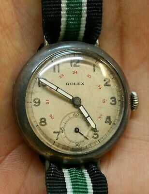 $ CDN706.10 • Buy Vintage ROLEX Sterling Silver 925 Trench 12 & RED 24 Hours Watch 15 RUBIES C1926