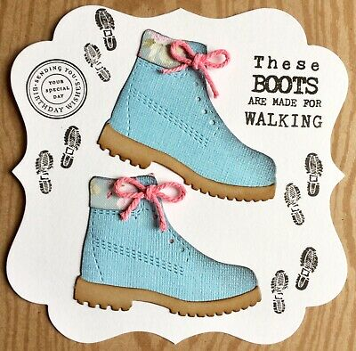Handmade By Susie Luxury Girlie / Lady Hiking Boots Quote Birthday Card Topper • 1.99£